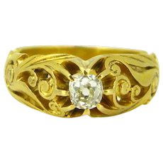 Art Nouveau Old mine cut diamond Gypsy ring, 18kt yellow gold, France, circa 1900