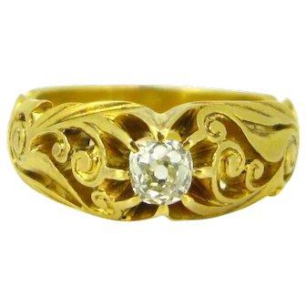 Art Nouveau Old mine cut diamond Gypsy ring, 18kt yellow gold, France, circa 1900
