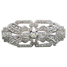 Art Deco Old Mine Rose Cut Diamond Brooch, Platinum, France