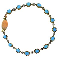 Antique Victorian Turquoises and rose cut diamonds Bracelet, circa 1880