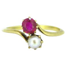 Antique Art Nouveau Pearl and Ruby Toi et Moi ring, circa 1905