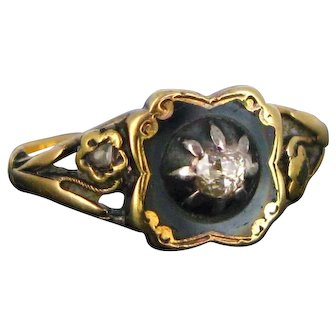 Victorian Diamond Black Enamel Ring, 18kt Yellow Gold and Silver