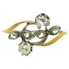 Antique Art Nouveau Flower rose cut diamonds ring, circa 1900
