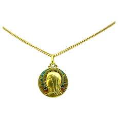 Antique Art Nouveau Plique a Jour Religious Medal, circa 1900