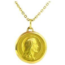 Vintage Jesus Christ Medal Pendant, 18kt Yellow Gold,,