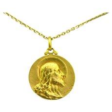 Art Nouveau Religious Medal – Jesus Christ – Pendant, 18kt gold, by DESCHAMPS
