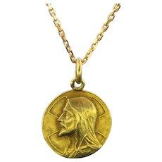 Antique French Art Nouveau Religious Medal – Jesus Christ – Pendant, 18kt yellow gold