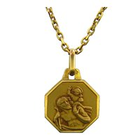 Vintage St Christophe Medal 18kt Yellow Gold, France