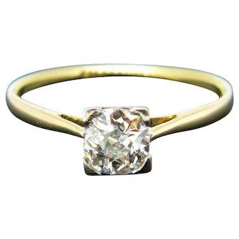 Art Deco Diamond Ring, 18kt Yellow Gold and Platinum