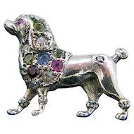 Silver Multi Gemstone Poodle Brooch, circa 1960