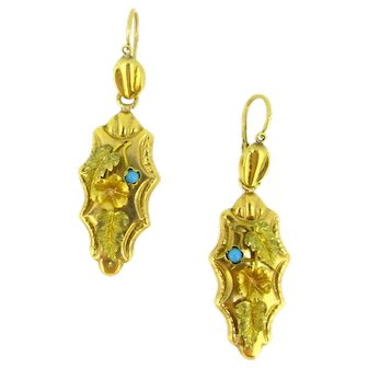 Antique Victorian Turquoises Dormeuses Earrings, circa 1880