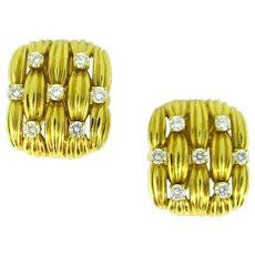 Tiffany & Co. Basket Weaves Diamonds Yellow Gold Clip Earrings