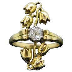 Antique Old Mine Cut Diamond Lily of the Valley Ring, 18kt Yellow Gold and Platinum, circa 1905