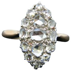 Antique Rose Cut Marquise Ring, 18kt Rose Gold and Platinum