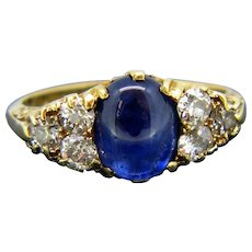 Victorian Cabochon Sapphire Old Cut Diamonds Ring, 18kt Yellow Gold