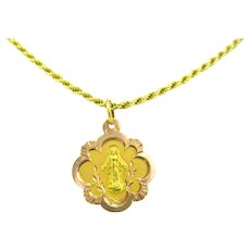 Antique Art Nouveau Religious Medal Pendant, 18kt rose and yellow gold, France circa 1905