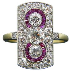 Edwardian Three Stone Old Mine Cut Diamonds Calibrated Rubies Ring, 18kt Gold and Platinum