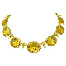 Antique Georgian Charles X Filigree Citrine Yellow Gold French Necklace