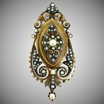 Antique Victorian Pearl Brooch / Pendant, 18kt gold and silver, France, circa 1880