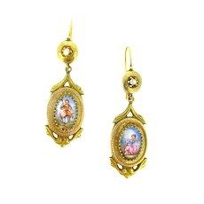 RARE Antique Victorian Pastoral Scene Enamel Earrings, 18kt gold, France