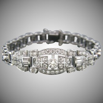 Art Deco Diamond Bracelet, 18kt White Gold and Platinum