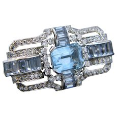 Vintage Aquamarine Diamonds Synthetic Spinels Brooch, Platinum