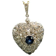 Victorian Sapphire and Rose Cut Diamonds Heart Locket Pendant, Silver Guilded, circa 1880