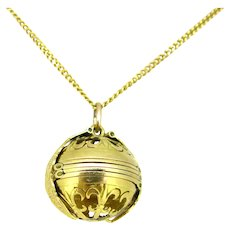 Antique Gold Picture Frame Ball Pendant, 18k gold, early 20th century
