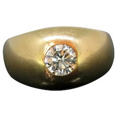 Retro French Gypsy Diamond Ring, 18kt Yellow Gold