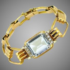 Retro Aquamarine Diamonds Bracelet, 18kt rose and white gold, circa 1940