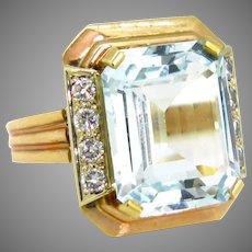 Retro 6.5ct Aquamarine Diamonds Ring, 18kt rose gold, circa 1940, France