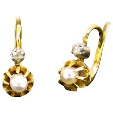 Antique Pearls Diamonds Dormeuses Earrings, France, 18kt Gold and platinum