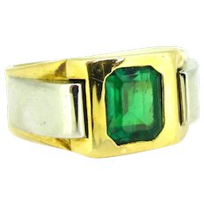 Retro Emerald Ring, 18kt gold and platinum, France