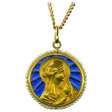 Antique Art Nouveau Plique a Jour Virgin Mary Pearl Border Medal by Dechamps, circa 1900