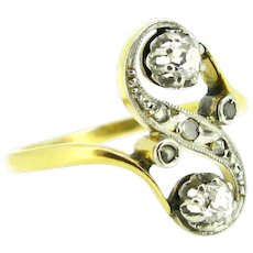 Antique Edwardian Old cut diamonds Toi et Moi ring, 18kt gold and platinum, circa 1905