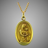 Antique Sacred Heart Scapular Jesus Virgin Mary by Mazzoni and Augis , 18kt Yellow Gold, France, circa 1910
