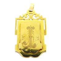 Antique Victorian Locket Pendant, 18kt yellow gold, France circa  1880