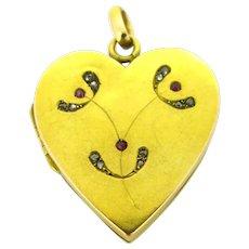 Antique Art Nouveau Mistletoe Diamonds Heart Shaped Locket, 18kt Gold, France
