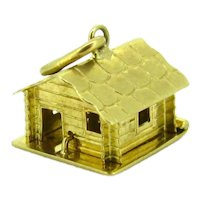 Vintage Chalet Mountain Cabin Charm, 9kt Yellow Gold, circa  1960