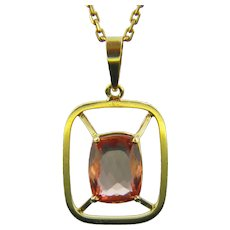 Vintage Imperial Topaz Pendant, 18kt Yellow Gold, France, circa 1960