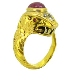 Vintage Snake Ruby and Diamonds ring, 18kt yellow gold, France