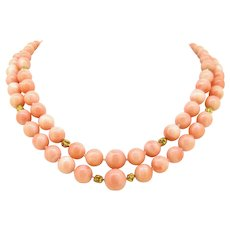 Vintage 2 Rows Angel Skin Corals Graduated Beads Necklace, 18kt yellow gold