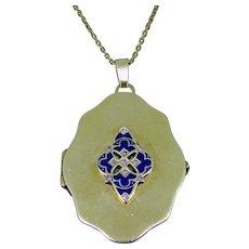 Antique Art Nouveau Blue Enamel Diamonds Locket Pendant, 18kt gold, circa 1900