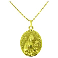 Vintage Notre Dame d'Evian Virgin Mary and Sacred Heart Jesus Medal Pendant, 18kt yellow gold, France, by Karo