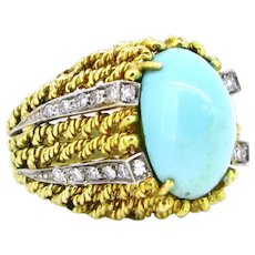 Retro Turquoise and Single Cut Diamonds Ring, 18kt Yellow Gold and Platinum, circa 1950