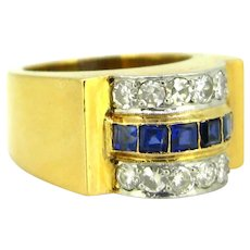 Retro Tank Ring, 18kt gold and platinum, circa 1940