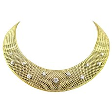 Retro Large Diamonds Woven Collar Necklace by Bonifassi, 18kt yellow gold and platinum, France