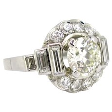 French Art Deco 2ct Transitional Cut Diamond Cluster Ring, Platinum