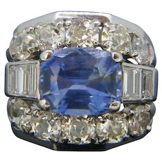 Sri Lanka Ceylon Sapphire and Diamonds Ring, 18kt White Gold