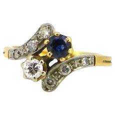Antique Toi et Moi Sapphire Diamond ring, circa 1910